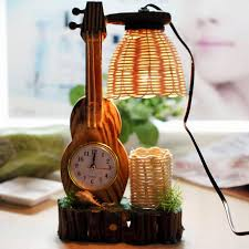 description guitar clock shape cute table l novelty gifts