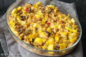 A layered cornbread salad is another way to use cornbread in a savory way. Spicy Yellow Squash Dressing A Leftover Cornbread Recipe
