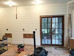 diy shiplap wall farmhouse kitchen backsplash