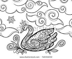 princess swan and clouds zentangle coloring book pages for s and kids