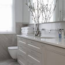 modern bathroom white. Grey Bathroom With Vase Of Budding Branches Modern White