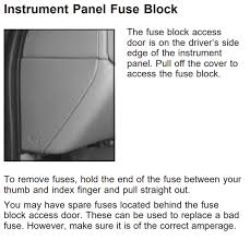 chevy 1500 silverado 2000 2005 fuse box location and diagram the fuse block access door is on the driver s side edge of the instrument panel pull off the cover to access the fuse block