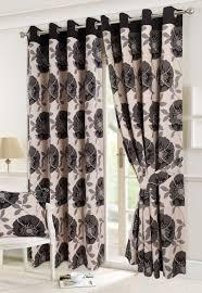 isla black cream poppy print ring top lined curtains 90x90 drop