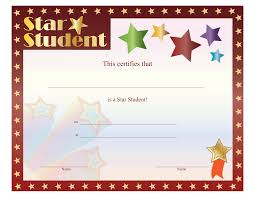 Star Student Certificates Student Certificates Free Magdalene Project Org