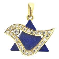 lapis star of david diamond dove 18 karat yellow gold judaica pendant for