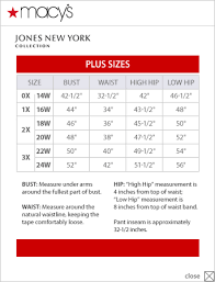 Jones New York Collection Plus Size Chart Via Macys