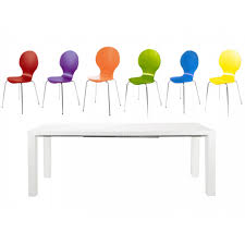 frances extending dining set 6 to 8 seater white gloss with multi coloured hugo chairs