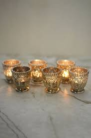 6 Mercury Glass Votive Candle Holders