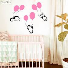 penguin wall decals vinyl sticker home decoration penguins hold on balloons descent nursery children s room art sticker mural in wall stickers from home  on penguin wall art for nursery with penguin wall decals vinyl sticker home decoration penguins hold on