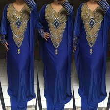 Blue Moroccan Kaftan Trendy Maxi Caftan Ladies Dress Spandex Don