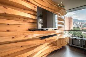 wooden wall designs living room in gallery curved accent the design decor