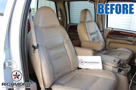 2001 ford f 350 lariat perforated leather seat cover driver lean back tan