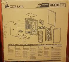 corsair crystal series x rgb pc case review com left and right sides of the box have specifications of the chassis printed in the middle beneath corsair brand and logo two diagrams on the bottom show