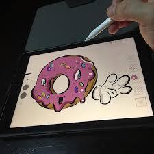Drawing On Ipad Pro Donut Illustration In Adobe Draw Using Ipad Pro And Apple