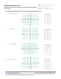 eighth grade linear functions inequalities and graphing graphing standard form wks