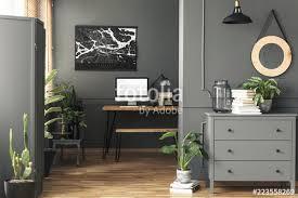 wall desk mirror. Brilliant Mirror Black Poster On Grey Wall Above Desk With Mockup In Home Office Interior  Mirror Inside Wall Desk Mirror S