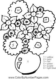 Colour By Numbers Flowers Flowers Color By Number Page Coloring