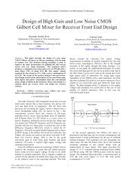 Gilbert Cell Design Pdf Design Of High Gain And Low Noise Cmos Gilbert Cell