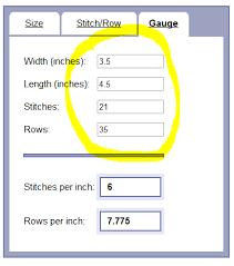 Knitting Stitches Per Inch Chart Gauge Calculator Online Documentation