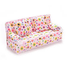 barbie doll house furniture. 2016 Mini Dollhouse Furniture Flower Cloth Sofa Couch With 2 Full Cushions For Barbie Doll House