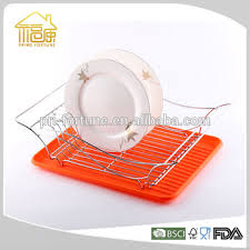 Eco friendly dish drainer rack orange dish rack dish drying rack