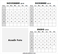 Calendario Noviembre 2020 Para Imprimir Linda Calendario Noviembre Diciembre 2019 Enero 2020 Para