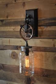 moonshine lamps pulley wall sconces and bulbs sconce with mason jar chic cool industrial wheel the old fashioned edison bulb seals three light floor lamp