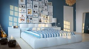 a calming environment can be created with sky blue hues teamed with pure white with blue room white