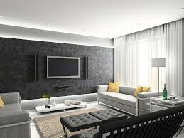 Modern Living Room Wallpaper Extraordinary Black White Grey Living Room Decoration Using L