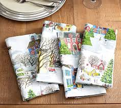 holiday cloth napkins.  Holiday Winter Village Napkin Set Of 4 Benefiting Give A Little Hope Campaign   Pottery Barn With Holiday Cloth Napkins