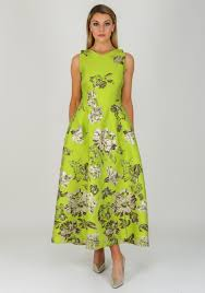 Fely Campo Metallic Floral Long Dress, Lime Green   McElhinneys