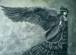 обои рисование искусство фэнтези крылья ангел ворон готика