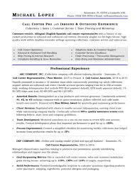 Example Of A Call Center Resume Call Center Resume Samples Letter Example 3