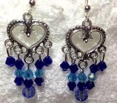 blue crystal chandelier earrings lake blue light blue cobalt blue heart shaped