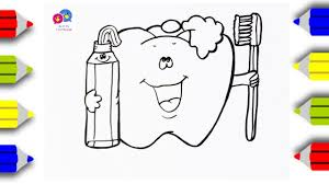 Draw Toothpaste, Toothbrush and Teeth, Children's Coloring page ...