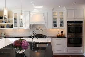 modern white kitchens with dark wood floors. Brilliant Modern Stainless Steel Arc High Faucet Dark Wood Floors With White Cabinets Brown  Tile Ceramic Backsplash In Modern Kitchens A