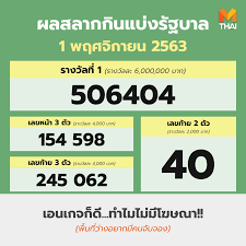 MThai - | #ตรวจหวย งวด 1 พ.ย. 2563 รางวัลที่ 1 506404...