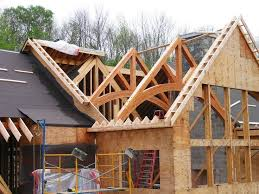 timber truss installation from timber frame homes more | Cottage |  Pinterest | Construction, Cabin and House