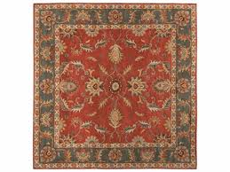 caesar square red area rug