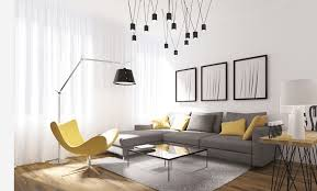Dramatic Light Fixture in a Modern Living Room