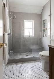 bathroom gray subway tile. Shower With Gray Subway Tiles, Transitional, Bathroom, Benjamin Moore Owl, Niche Bathroom Tile