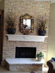 faux stone fireplace traditional living room