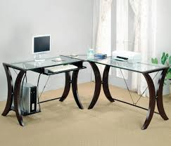 Surprising Glass Top Office Desk Modern Desks View Of White Stock Photo  Desks ...