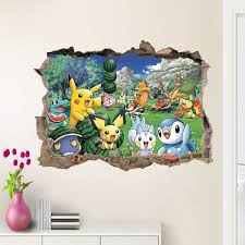pokemon go wall stickers for kids rooms pikachu child gift anime wall decals poster removable