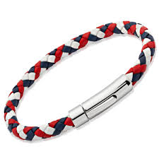 unttb a40gb aurum men s red white and blue leather bracelet with stainless clasp