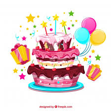Birthday cake background with balloons and ts Vector