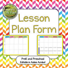 Lesson Plan Form For Prek And Preschool By Lauras Lily Pad