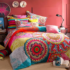 red blue and yellow colorful bohemian tribal circle print indian pattern modern chic 100 brushed cotton full queen size bedding sets