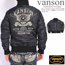 from vanson バンソン it is an introduction of entering ma 1 flight jacket riders specifications pre start star embroidery patch custom serial