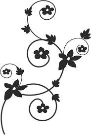 花のイラストフリー素材白黒モノクロno553白黒蔓葉内巻き